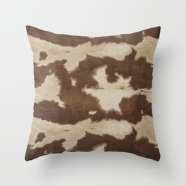 Brown and white cowhide 3 Throw Pillow