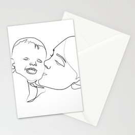""" Mother's Day "" - Mother Kissing Child Stationery Cards"