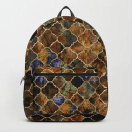 Quatrefoil Moroccan Pattern Brown Labradorite Backpack