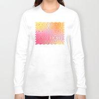 orange pattern Long Sleeve T-shirts featuring Happy Hippie Pattern (orange) by NatalieCatLee