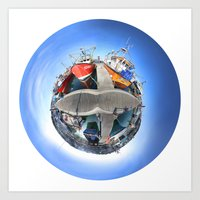 360 degree photo of Newlyn Harbour, UK Art Print