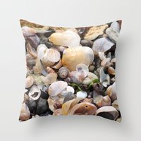 shells Throw Pillows featuring Shells by BACK to THE ROOTS
