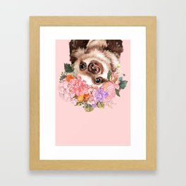 Baby Sloth with Flowers Crown in Pink Framed Art Print