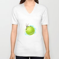 tennis V-neck T-shirts featuring Tennis bug by Migar