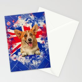Corgi Portrait with Britain Flag Stationery Cards