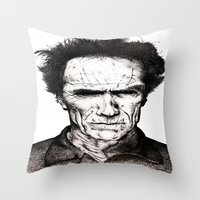 clint eastwood Throw Pillows featuring Clint Eastwood by Danielle Ross