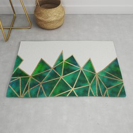 Emerald & Gold Geometric Rug