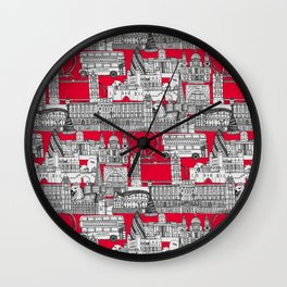 London toile red Wall Clock