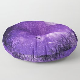 Nightsky with Full Moon in Ultra Violet Floor Pillow