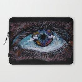 Abstract big blue eye. Oil Pastel. Black background. Laptop Sleeve