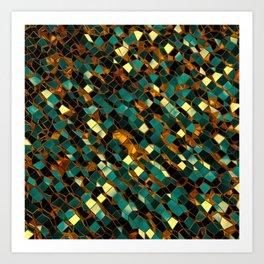 Golden Blue Polygon 03 Art Print