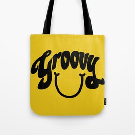 Groovy Smile // Black Smiley Face Fun Retro 70s Hippie Vibes Mustard Yellow Lettering Typography Art Tote Bag