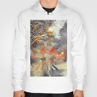 takmaj Hoodies featuring WINTER IN THE CITY by takmaj