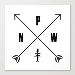 PNW Pacific Northwest Compass - Black on White Minimal Canvas Print