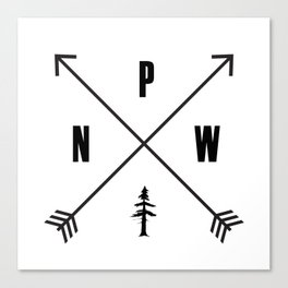 PNW Pacific Northwest Compass - Black on White Minimal Canvas Print