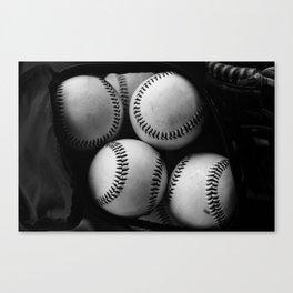 Black and White Pile of Baseballs Canvas Print