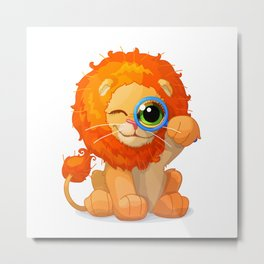 cartoon lovely lion Metal Print