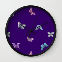 Christmas Butterfly Ornaments on purple Wall Clock