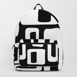 Retro Mid Century Modern Abstract Pattern 335 Black and White Backpack