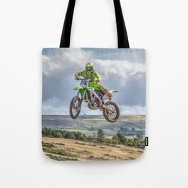 flying high in Motocross Tote Bag
