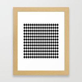 Classic Black and White Harlequin Diamond Check Framed Art Print