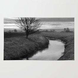 Sunrise On The River (Black & White) Rug