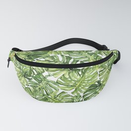 Watercolor tropical monstera leaves pattern Fanny Pack