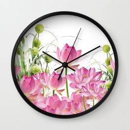 Field of Lotos Flowers Wall Clock
