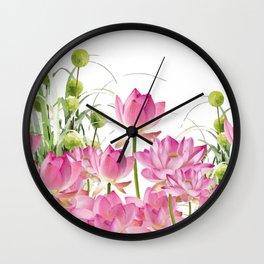 Field of Lotos Flowers Wall Clock
