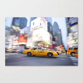 Yellow taxi cab in times square Canvas Print