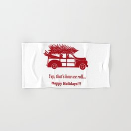 Happy Holidays Woody Hand & Bath Towel