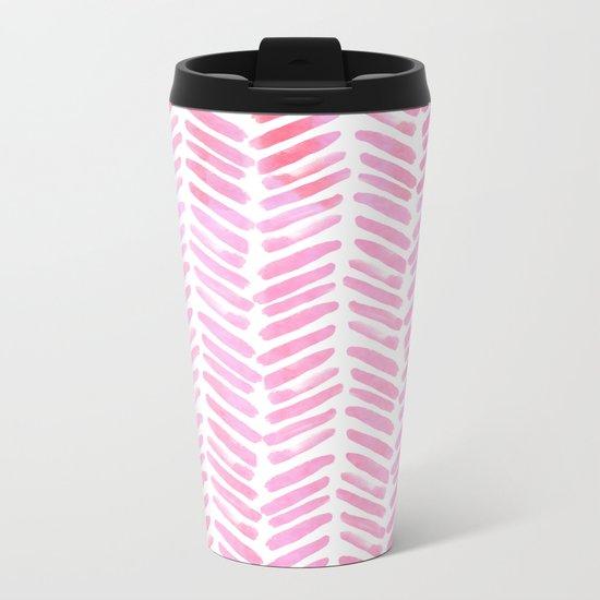 Handpainted Chevron pattern - pink and pink ;) Metal Travel Mug