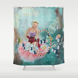 Underwater Circus - Violet and the Clownfish Shower Curtain