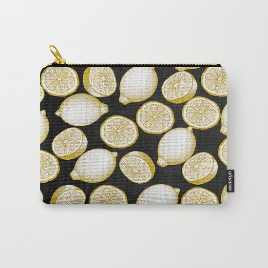 Lemons on black background Carry-All Pouch