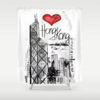hong kong Shower Curtains featuring I love Hong Kong  by sladja