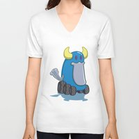 platypus V-neck T-shirts featuring DUCKWHEEL PLATYPUS by Erick Sulaiman
