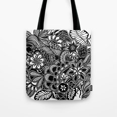 Gardens #5 Black and White Doodle Art Tote Bag