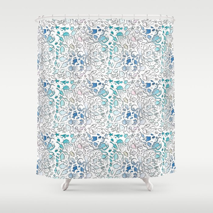 Colorful Sealife Shower Curtain By Silviapaparella