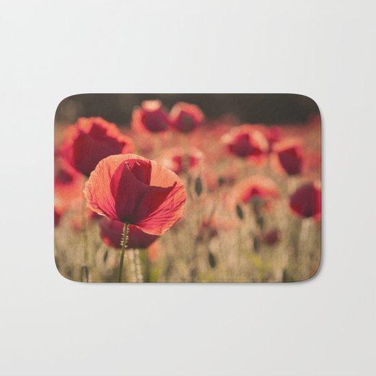 Poppies meadow Flower Flowers Floral Summer Bath Mat