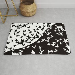 Flocks of birds. Allegory of day and night Rug