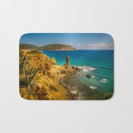 Small but picturesque abandoned beach in Ibiza Bath Mat