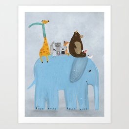 the big blue elephant Art Print