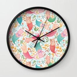 Purrmaids Pattern Wall Clock