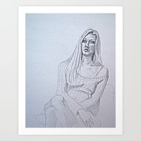 karen hallion Art Prints featuring Karen by Anna Maria Nieves