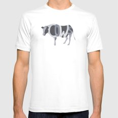 Cows Typography Mens Fitted Tee White MEDIUM