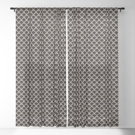ARC beige arches on black repeating pattern Sheer Curtain
