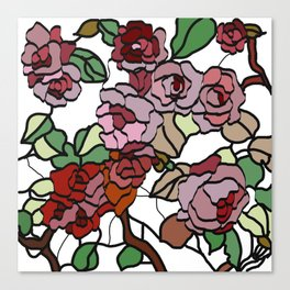 pattern of branches and roses . https://society6.com/totalflora/collection Canvas Print