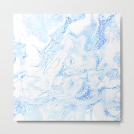 White Marble with Pastel Blue Purple Teal Glitter Metal Print