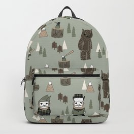 Forest lumberjack and bear nursery kids cute woodland camper gifts Backpack