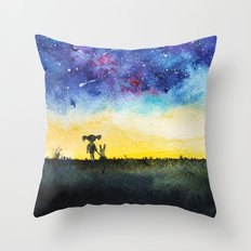Making wishes on a shooting star Throw Pillow